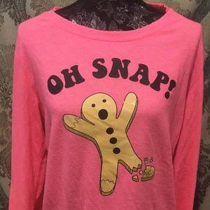 "Fifth Sun Hot Pink ""OH SNAP!"" Gingerbread Sweatshi"